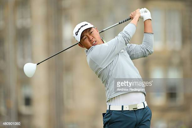 David Lipsky of the United States tees off on the 2nd hole during the first round of the 144th Open Championship at The Old Course on July 16 2015 in...