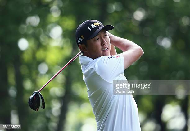 David Lipsky of the United States tees off on the 3rd hole during day one of the BMW PGA Championship at Wentworth on May 26 2016 in Virginia Water...