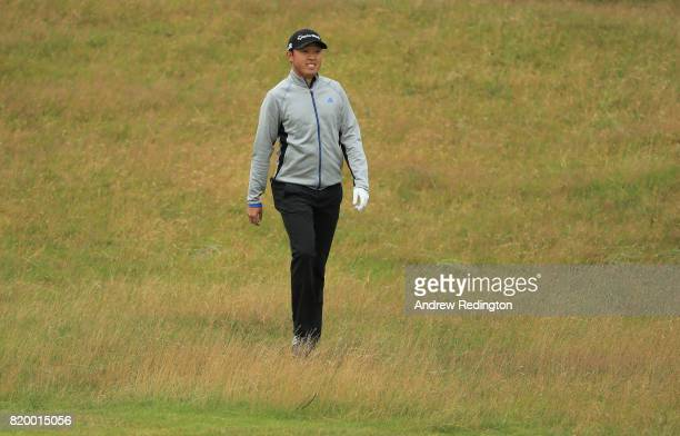 David Lipsky of the United States walks in the rough on the 1st hole during the second round of the 146th Open Championship at Royal Birkdale on July...