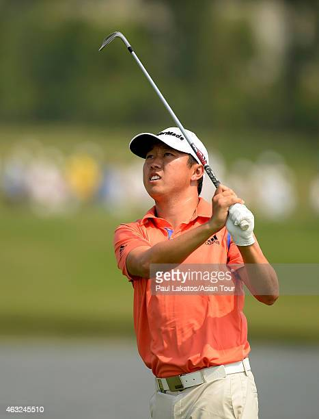 David Lipsky of the USA plays a shot during round one of the Thailand Classic at Black Mountain Golf Club on February 12 2015 in Hua Hin Thailand