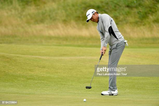 David Lipsky of the USA plays a shot on hole 1 at Royal Birkdale on July 20 2017 in Southport England