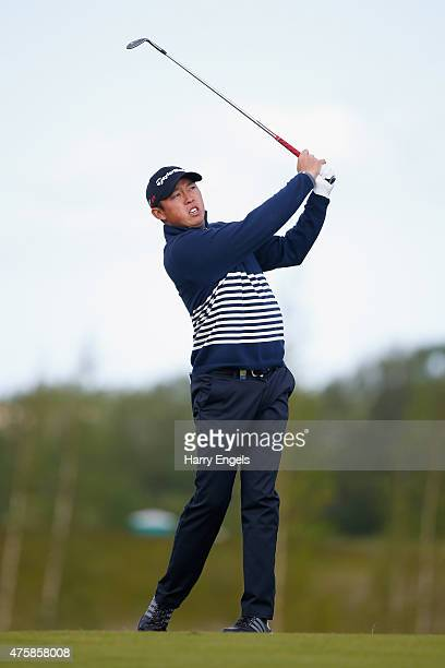 David Lipsky of the USA plays his second shot on the twelfth hole on day one of the Nordea Masters at the PGA Sweden National on June 4 2015 in Malmo...