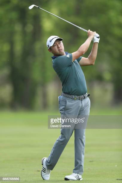 David Lipsky of the USA plays the ninth hole during day one of the BMW PGA Championship at Wentworth on May 25 2017 in Virginia Water England
