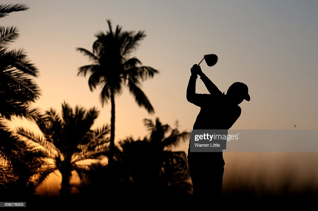 David Lipsky of the USA tees off on the 10th hole during the first round of the Omega Dubai Desert Classic on the Majlis course at the Emirates Golf Club on February 4, 2016 in Dubai, United Arab Emirates.
