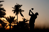 David Lipsky of the USA tees off on the 10th hole during the first round of the Omega Dubai Desert Classic on the Majlis course at the Emirates Golf...