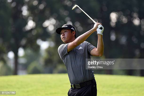 David Lipsky of United States in action during round two of the Maybank Championship Malaysia at Royal Selangor Golf Club on February 19 2016 in...