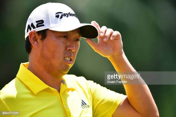 David Lipsky of USA doffs his cap during Day Two of the Maybank Championship Malaysia at Saujana Golf Club on February 10 2017 in Kuala Lumpur...