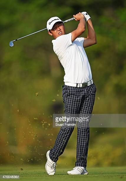 David Lipsky of USA plays a shot during the second round of the Shenzhen International at Genzon Golf Club on April 17 2015 in Shenzhen China