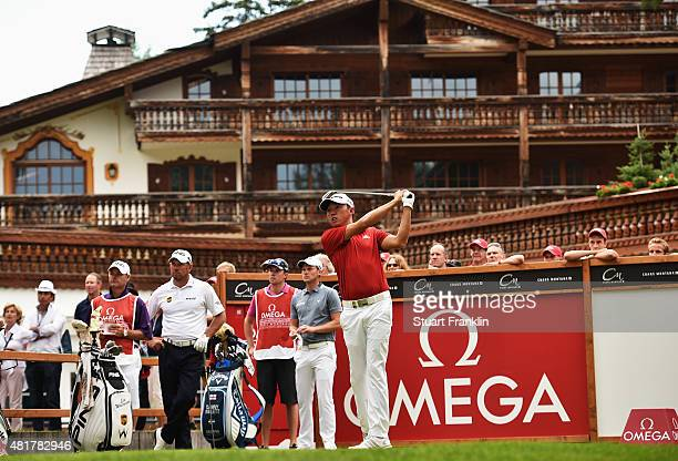 David Lipsky of USA plays a shot during the second round of the Omega European Masters at CranssurSierre Golf Club on July 24 2015 in CransMontana...