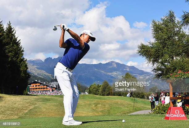 David Lipsky of USA plays a shot during the third round of the Omega European Masters at CranssurSierre Golf Club on July 25 2015 in CransMontana...