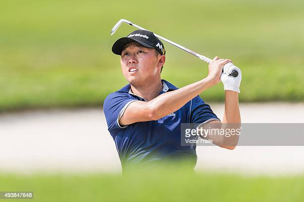 David Lipsky of USA plays a shot on the 3rd hole during the second round of the UBS Hong Kong Open at the Hong Kong Golf Club on October 23 2015 in...