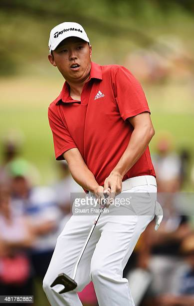 David Lipsky of USA reacts to a putt during the second round of the Omega European Masters at CranssurSierre Golf Club on July 24 2015 in...