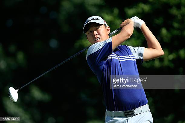David Lipsky plays a shot during a practice round for the World Golf Championship Bridgestone Invitational at Firestone Country Club on August 5 2015...
