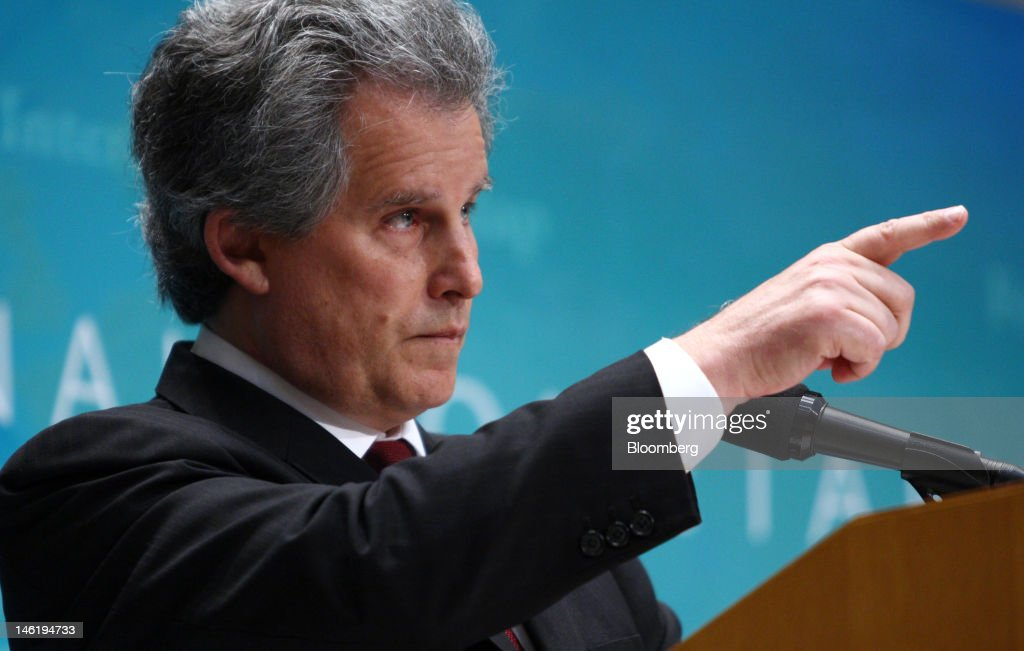 David Lipton first deputy managing director of the International Monetary Fund points at a reporter during a news conference in Tokyo Japan on...