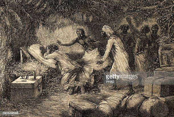 David Livingstone Scottish explorer Death of Livingstone in the village of Chief Chitambo's 1873 Engraving by Riov The Illustrated World 1882