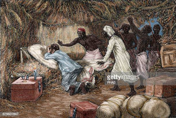 David Livingstone Scottish explorer Death of Livingstone in the village of Chief Chitambo's 1873 Engraving by Riov The Illustrated World 1882 Colored