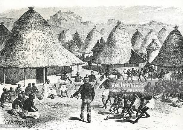 David Livingstone welcomed in a village in the Great Lakes region in Central Africa drawing by Emile Bayard 19th Century