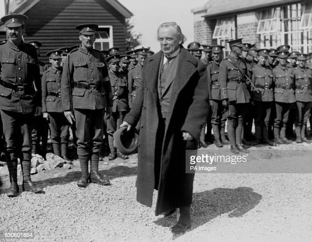 David Lloyd George with British Tommies from the Royal Welch Fusiliers and the Welsh Regiment at Kinmel Camp Rhyl North Wales Lloyd George was an...