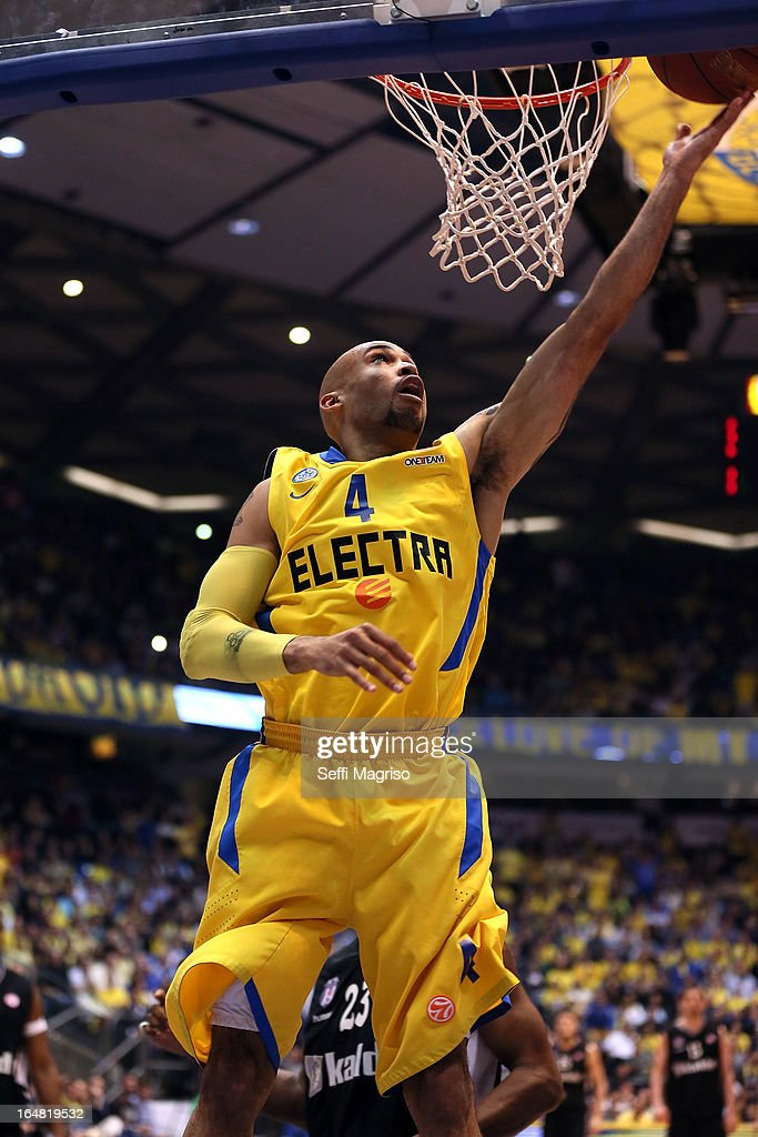 David Logan, #4 of Maccabi Electra Tel Aviv in action during the 2012-2013 Turkish Airlines Euroleague Top 16 Date 13 between Maccabi Electra Tel Aviv v Besiktas JK Istanbul at Nokia Arena on March 28, 2013 in Tel Aviv, Israel.