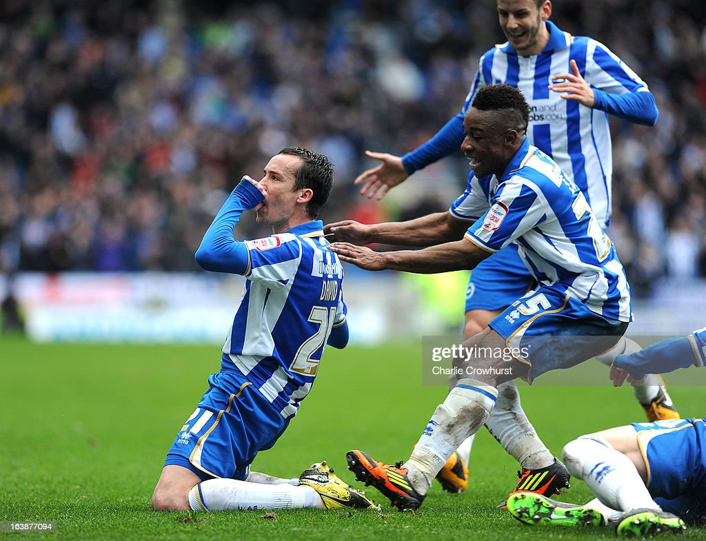 David Lopez of Brighton celebrates after he scores his team's second goal during the npower Championship match between Brighton & Hove Albion and Crystal Palace at The Amex Stadium on March 17, 2013 in Brighton, England,