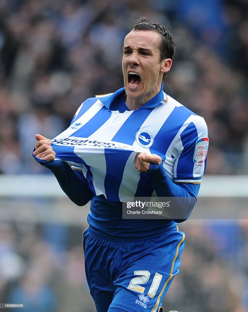 David Lopez of Brighton celebrates scoring the their second goal during the npower Championship match between Brighton & Hove Albion and Crystal Palace at The Amex Stadium on March 17, 2013 in Brighton, England,