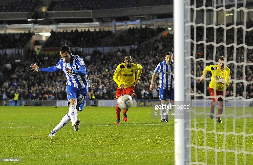 David Lopez of Brighton & Hove Albion scores the teams first goal from the penalty spot during the npower Championship match between Brighton & Hove Albion and Watford at The Amex Stadium on December 29, 2012 in Brighton, England.