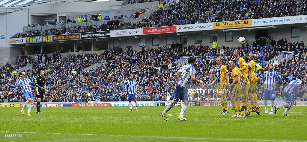 David Lopez of Brighton scores the team's second goal with a free kick during the npower Championship match between Brighton & Hove Albion and Crystal Palace at The Amex Stadium on March 17, 2013 in Brighton, England,