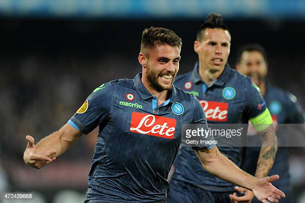 David Lopez of Napoli celebrates after scoring the goal 10 during the UEFA Europa League Semi Final between SSC Napoli and FC Dnipro Dnipropetrovsk...