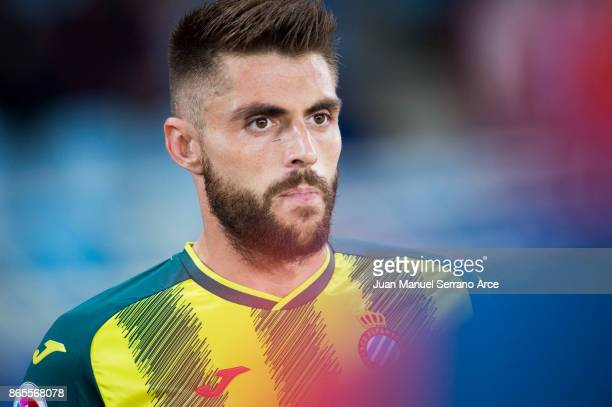 David Lopez of RCD Espanyol looks on prior to the start the La Liga match between Real Sociedad de Futbol and RCD Espanyol at Estadio Anoeta on...