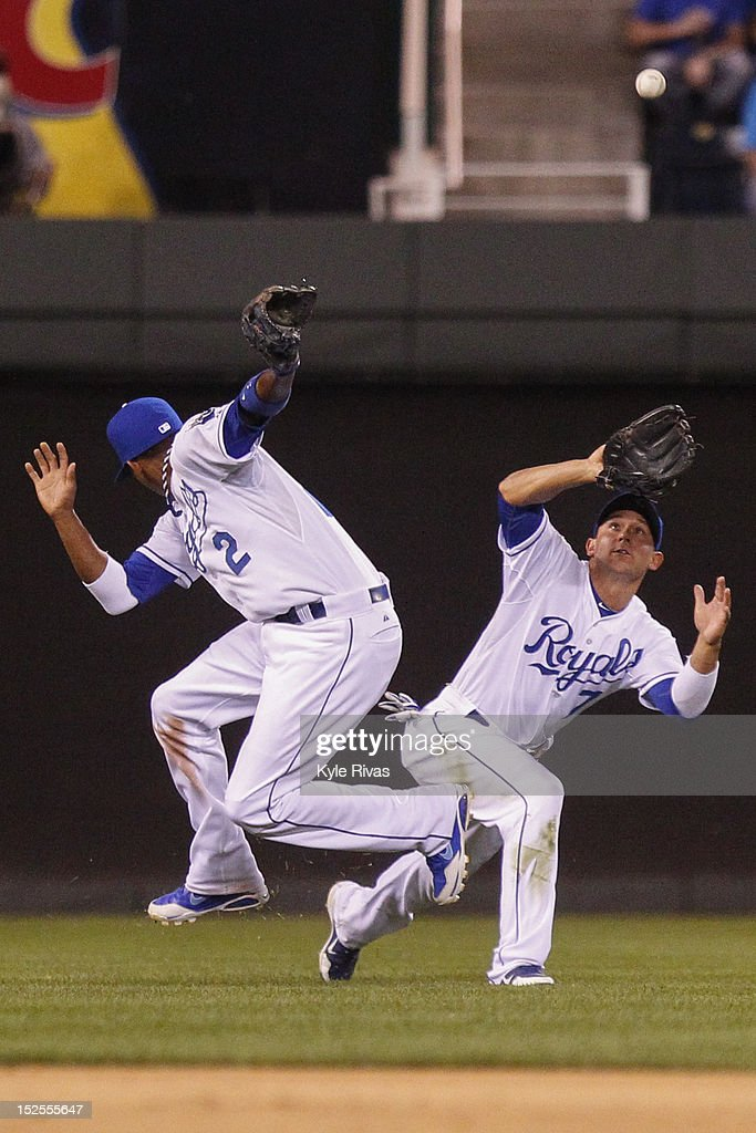 David Lough #7 of the Kansas City Royals calls off <a gi-track='captionPersonalityLinkClicked' href=/galleries/search?phrase=Alcides+Escobar&family=editorial&specificpeople=4845889 ng-click='$event.stopPropagation()'>Alcides Escobar</a> #2 of the Kansas City Royals during an outfield play against the Cleveland Indians in the sixth inning on Friday, September 21, 2012 at Kauffman Stadium in Kansas City, Missouri.