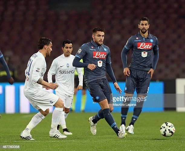 David López Silva of Napoli competes for the ball with Luca Cigarini of Atalanta during the Serie A match between SSC Napoli and Atalanta BC at...