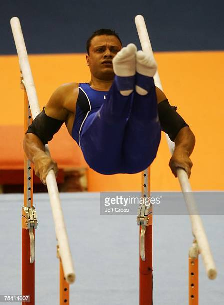 David Luca Durante competes in the Parallel Bars at the Men's Artistic Gymnastics Team Final and Individual Qualification during the 2007 Pan...