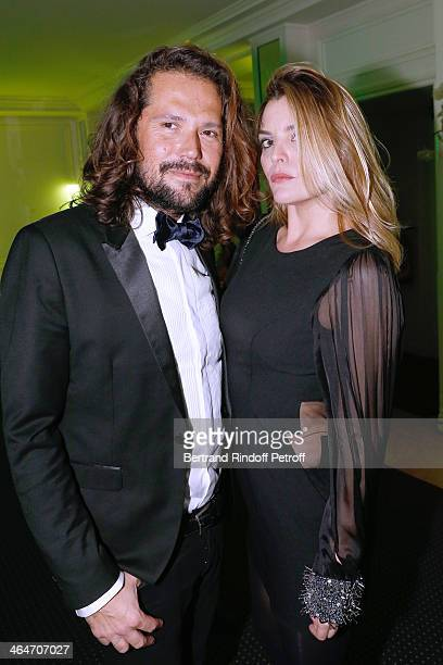 David Lucas and Jusitine Fraoli attend the Sidaction Gala Dinner 2014 at Pavillon d'Armenonville on January 23 2014 in Paris France