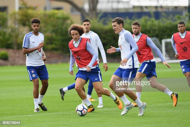 David Luiz and Andreas Christensen of Chelsea during a training session at Chelsea Training Ground on August 10 2017 in Cobham England