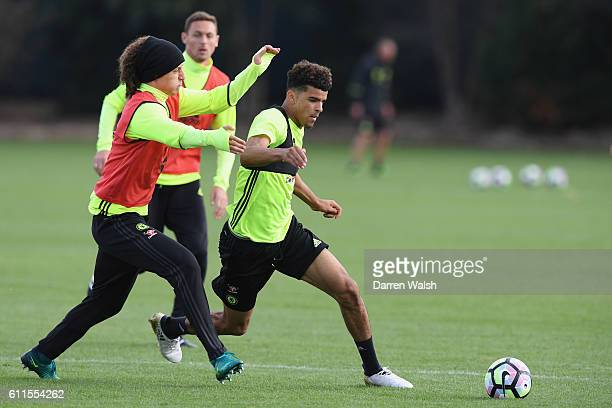 David Luiz and Dominic Solanke of Chelsea during a training session at Chelsea Training Ground on September 30 2016 in Cobham England