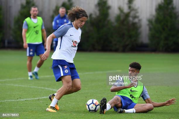 David Luiz and Jake ClarkeSalter of Chelsea during a training session at Chelsea Training Ground on September 4 2017 in Cobham England