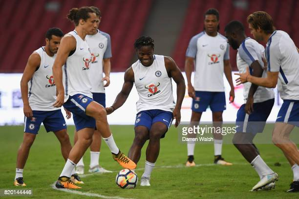 David Luiz and Michy Batshuayi of Chelsea during a training session at the Birds Nest Stadium on July 21 2017 in Beijing
