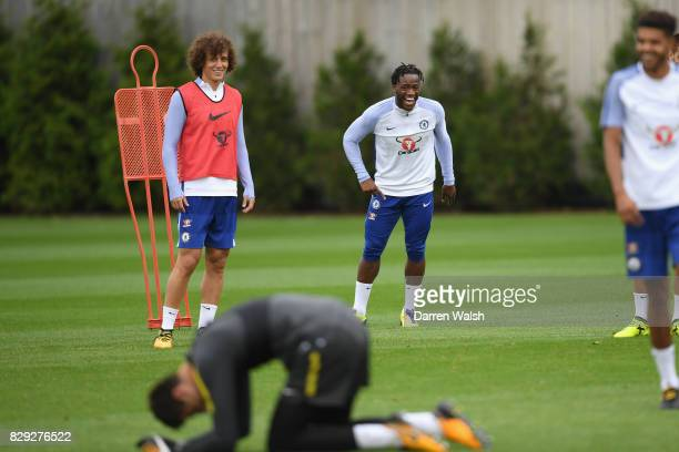 David Luiz and Michy Batshuayi of Chelsea during a training session at Chelsea Training Ground on August 10 2017 in Cobham England
