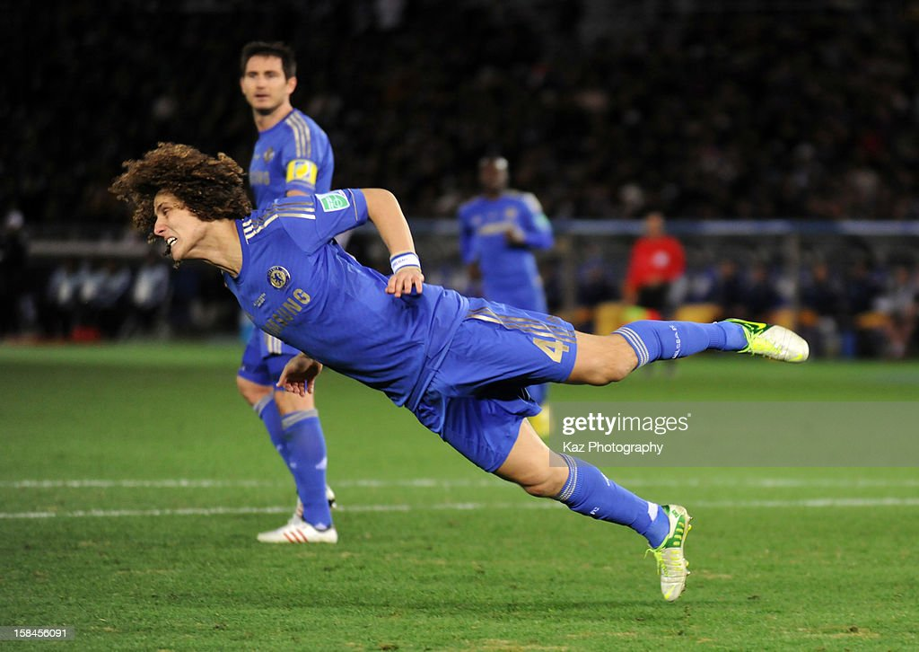 David Luiz clears the ball with diving head during the FIFA Club World Cup Final Match between Corinthians and Chelsea at International Stadium Yokohama on December 16, 2012 in Yokohama, Japan.