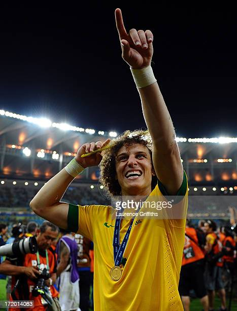 David Luiz of Brazil celebrates at the end of the FIFA Confederations Cup Brazil 2013 Final match between Brazil and Spain at Maracana on June 30...