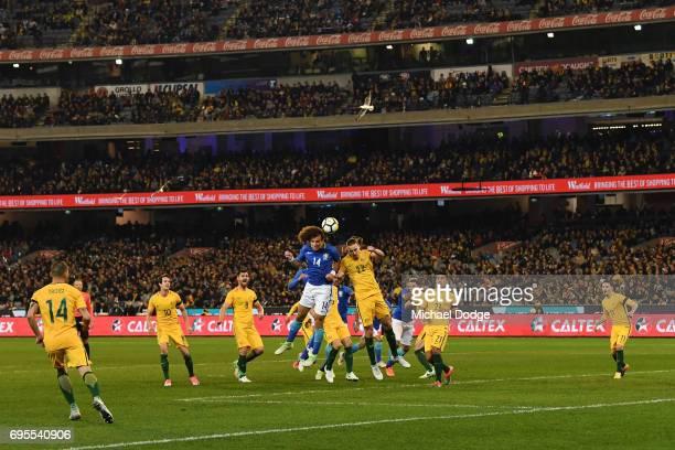 David Luiz of Brazil heads the ball against Jackson Irvine of Australia during the Brasil Global Tour match between Australian Socceroos and Brazil...