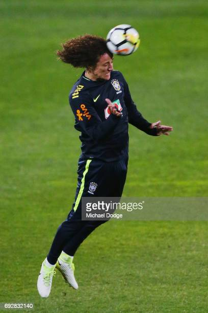 David Luiz of Brazil heads the ball during a Brazil training session at Lakeside Stadium on June 6 2017 in Melbourne Australia