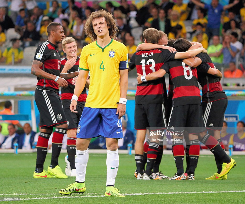 David Luiz of Brazil reacts after conceding the fifth goal to Germany during the 2014 FIFA World Cup Brazil Semi Final match between Brazil and Germany at Estadio Mineirao on July 8, 2014 in Belo Horizonte, Brazil.