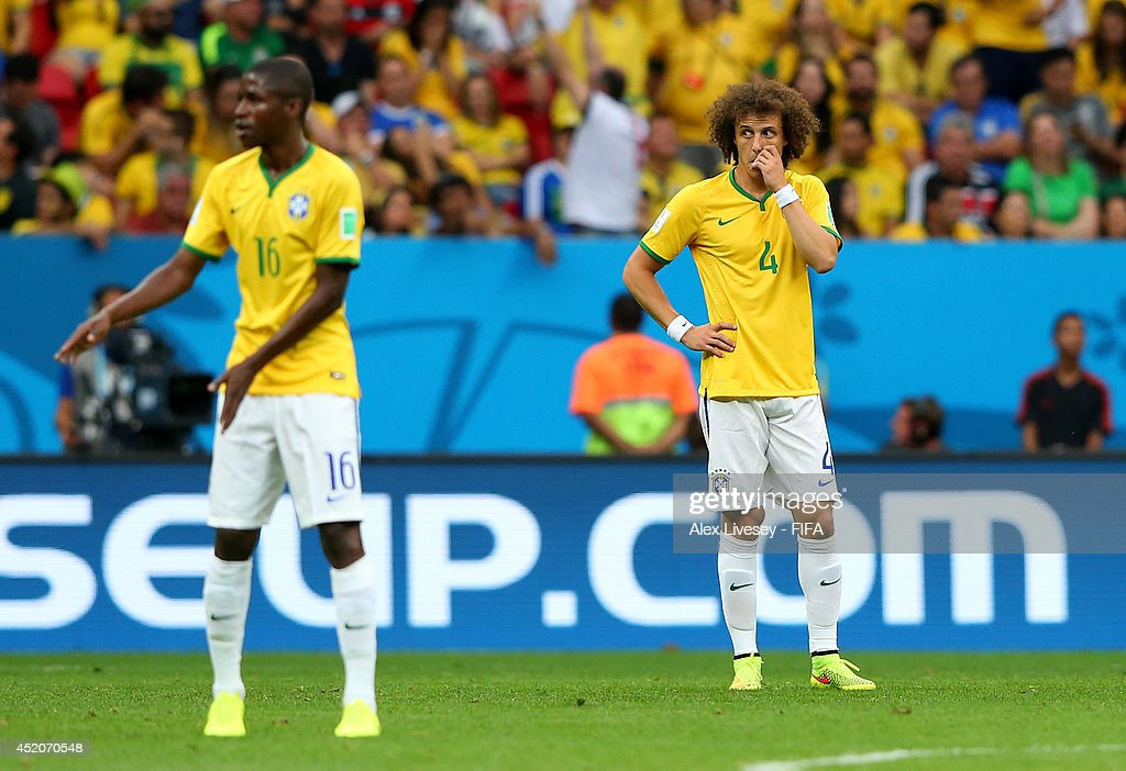 David Luiz (R) of Brazil reacts after conceding the second goal to the Netherlands during the 2014 FIFA World Cup Brazil 3rd Place Playoff match between Brazil and Netherlands at Estadio Nacional on July 12, 2014 in Brasilia, Brazil.