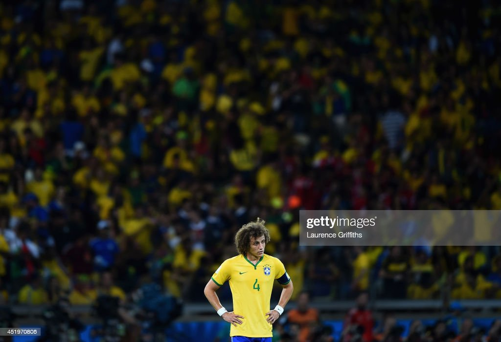 David Luiz of Brazil shows his disappointment after Germany's sixth goal during the 2014 FIFA World Cup Brazil Semi Final match between Brazil and Germany at Estadio Mineirao on July 8, 2014 in Belo Horizonte, Brazil.