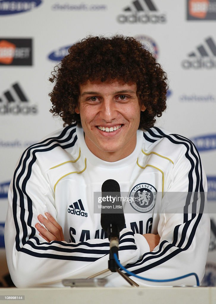 David Luiz of Chelsea addresses a press conference at the Cobham training ground on February 11 2011 in Cobham England