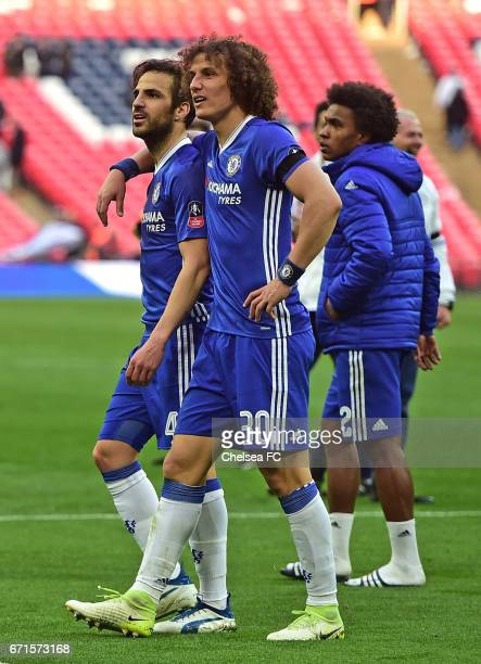 David Luiz of Chelsea and Cesc Fabregas of Chelsea celebrate during The Emirates FA Cup SemiFinal between Chelsea and Tottenham Hotspur at Wembley...