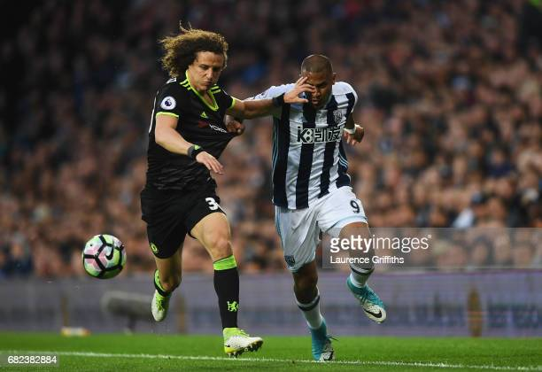David Luiz of Chelsea and Jose Salomon Rondon of West Bromwich Albion compete for the ball during the Premier League match between West Bromwich...