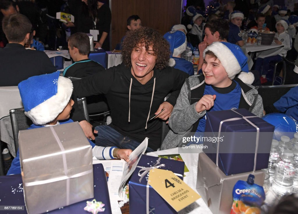 David Luiz of Chelsea at the Chelsea FC kids Christmas party December 7, 2017 in London, England.