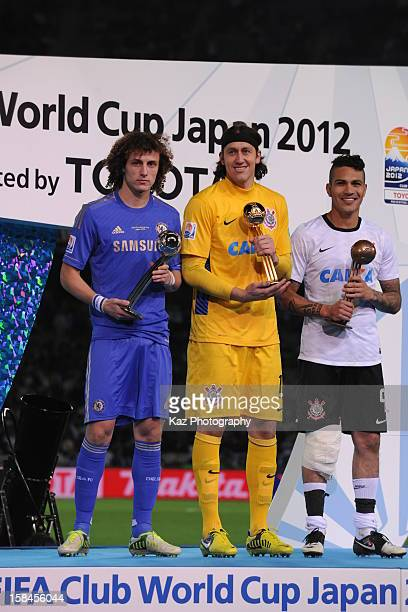 David Luiz of Chelsea Cassio of Corinthians and Paolo Guerrero of Corinthians pose with their awards on the podium during the FIFA Club World Cup...